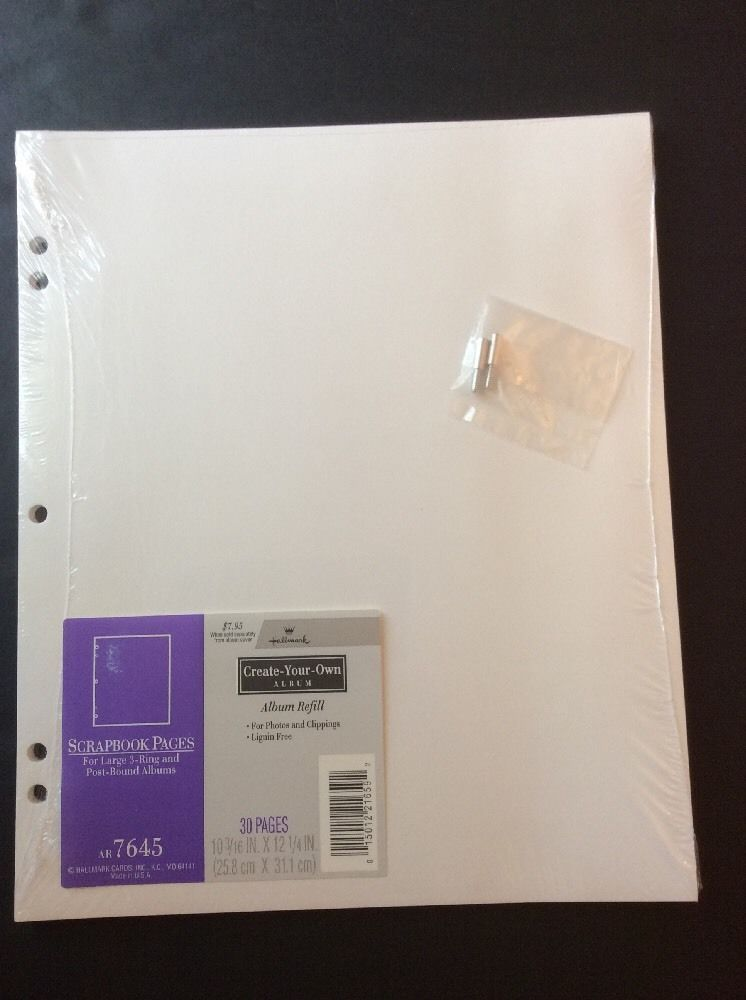 Hallmark Ar7645 Scrapbook Refill Pages Large 3 Ring Or Post Bound