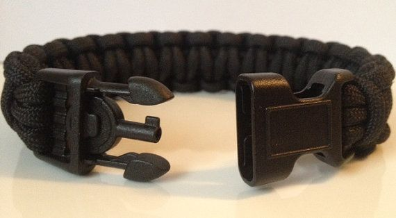 Police All Black Tactical Paracord Survival Bracelet with Handcuff Key Buckle