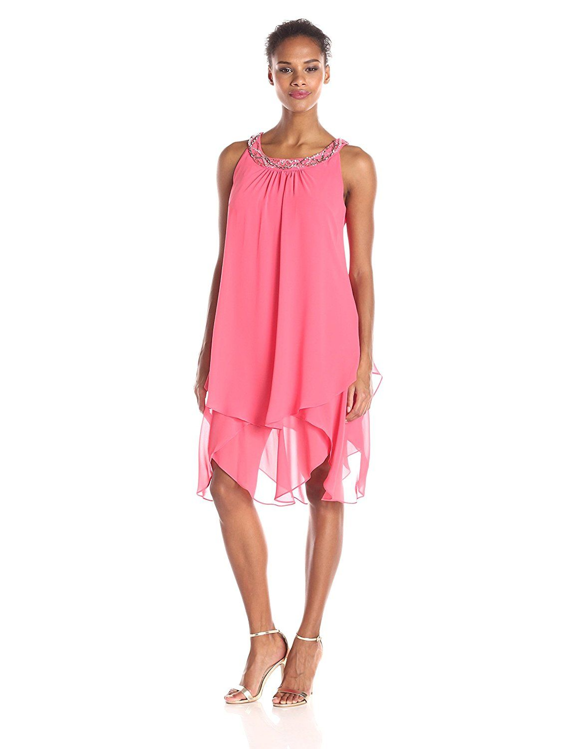 S.L. Fashions Women's Embellished Neck Chiffon Tunic Dress ** New and awesome product awaits you, Read it now  : Women's dresses