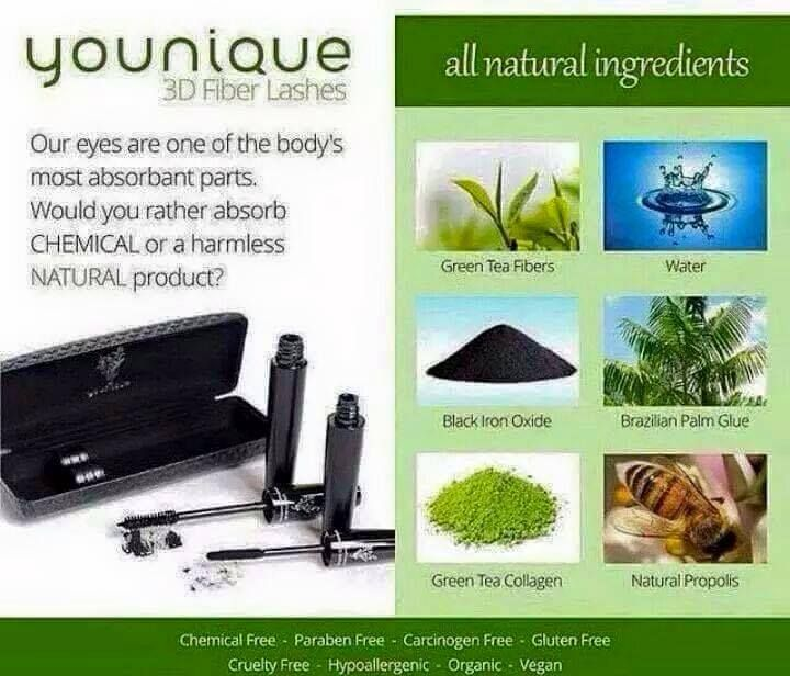 Are you Vegan? Or on a gluten free diet? I have products for you!  Find out what's in our mascara and other products from the source!  All natural is the only way to go, it seems everyone is on a health kick! You're already eating healthy.. Why not have the products you use externally be good for you too!   Want to order Younique's all natural products?  Order here! www.youniquebyjeanie.com