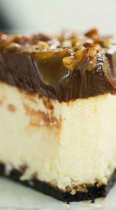 Turtle Cheesecake. Looks so yummy and delicious. Got to go make one.