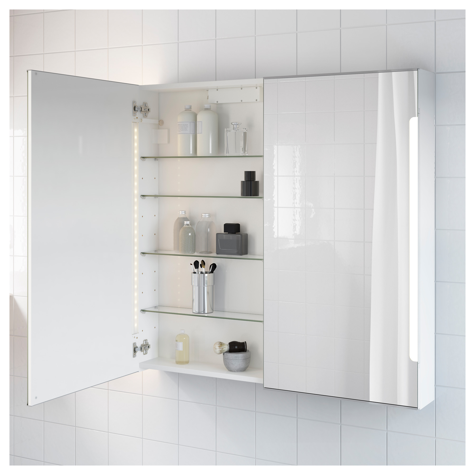 Storjorm Mirror Cab 2 Doorbuilt In Lighting White 100 X 14 X 96 Cm