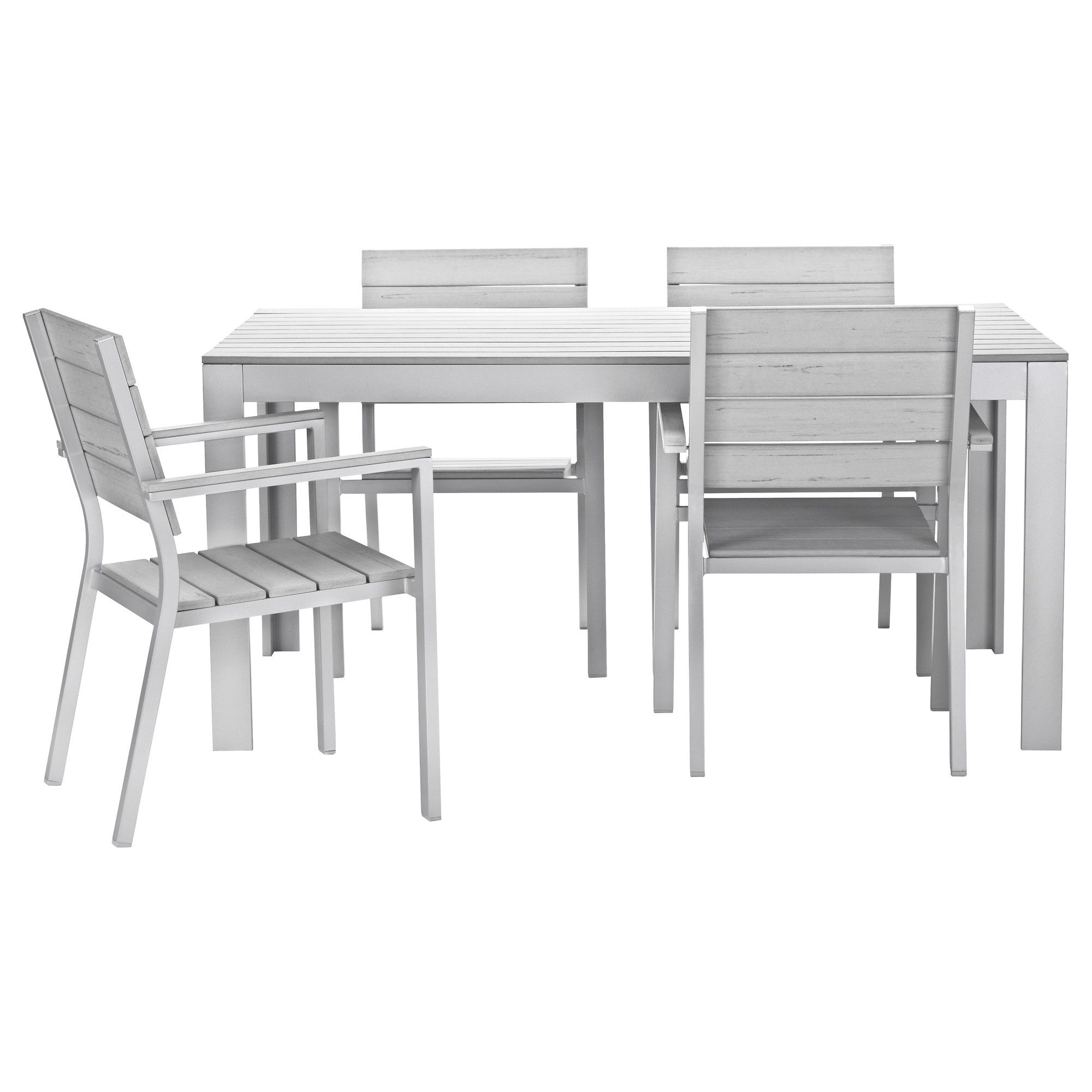 falster table and 4 armchairs - gray - ikea | outdoor furniture