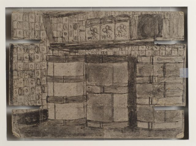 James Castle, 'Untitled (Interior with phonograph/barrels with checkered wall paper)', n.d., Fleisher/Ollman   Artsy