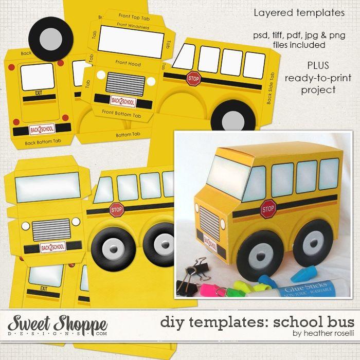 diy printable templates  school bus by heather roselli