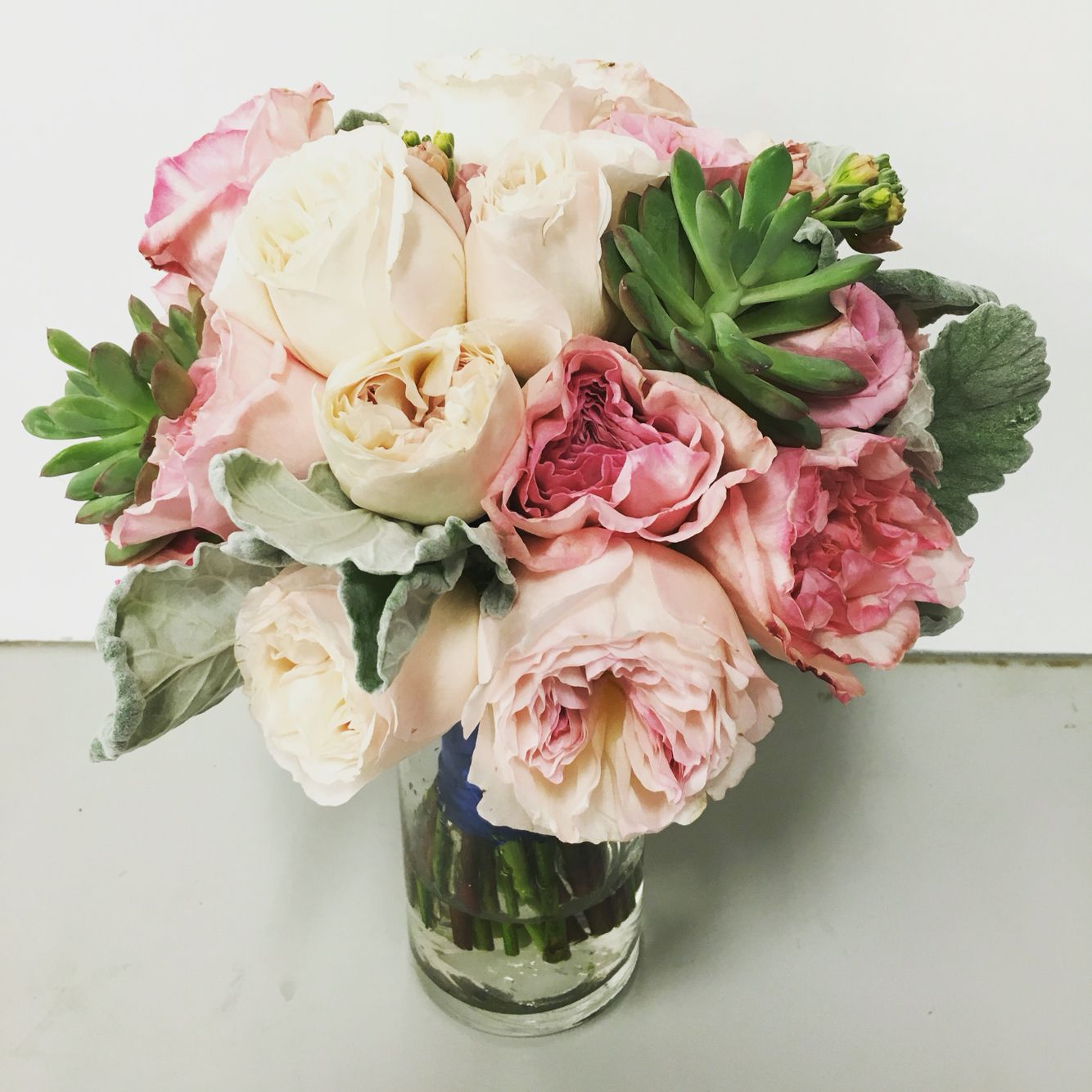 blush garden rose bouquet accented with succulents and dusty miler exoticgreengarden - Blush Garden Rose Bouquet