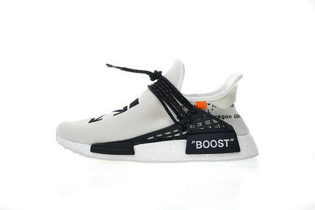 f3aaf2b69 Genuine Off-White X Pharrell X Adidas Nmd Hu Race Trail Black White Bb7725  Shoe