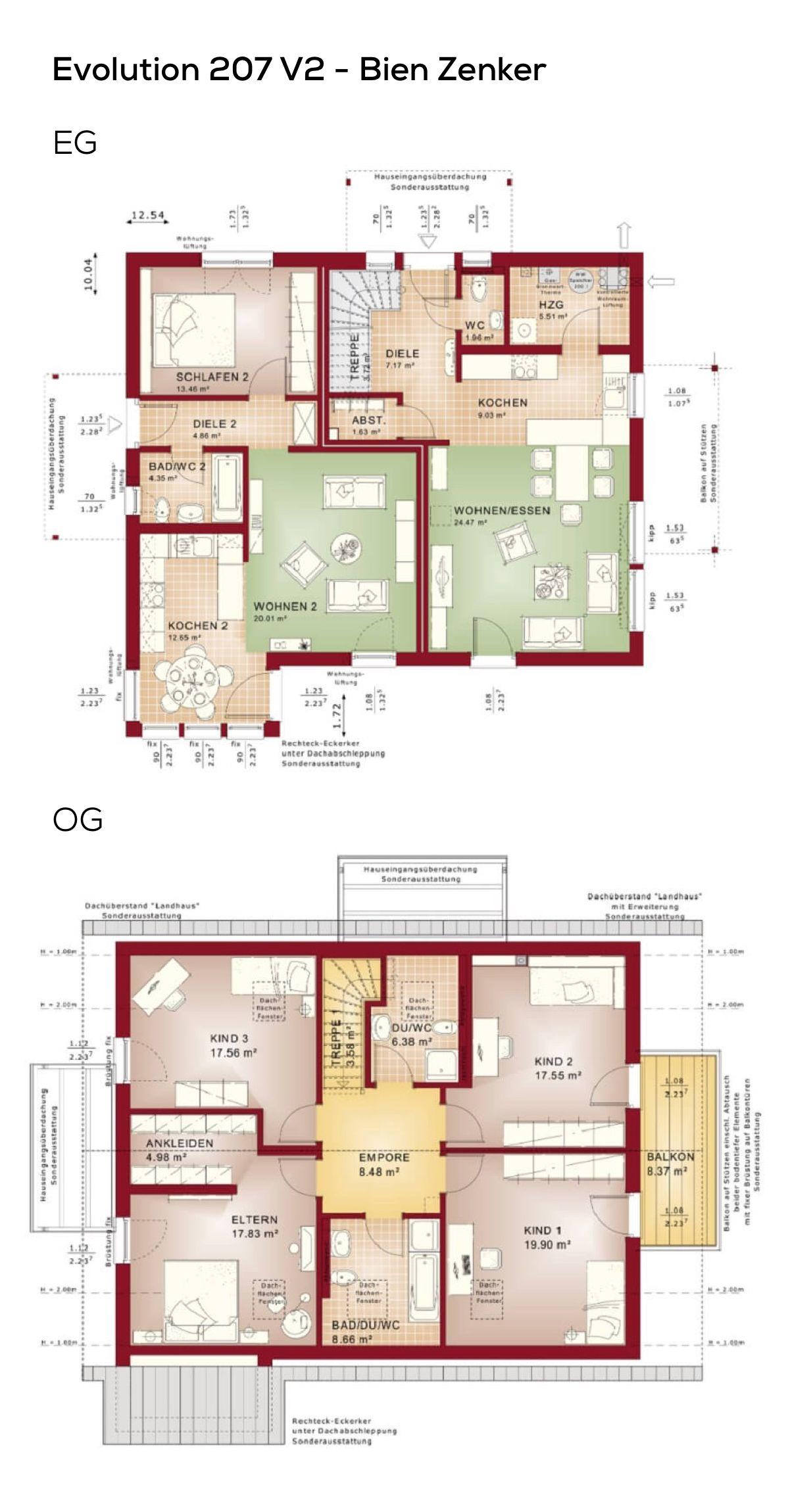 Grundriss Einfamilienhaus mit Einliegerwohnung