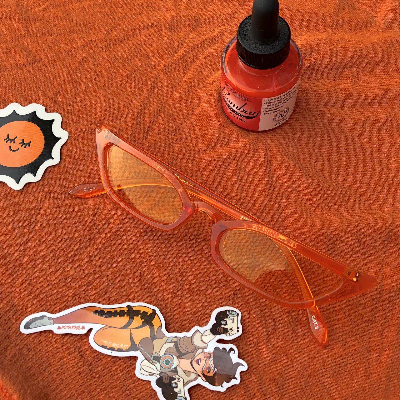 3c6ea98cb6cb4 Asuka. Slim thin tiny transparent cateye sunglasses in 🔥 - Depop ...