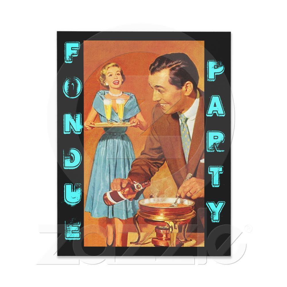 Fashionable Retro Fondue Party Theme Invitations   Fondue, Fondue ...