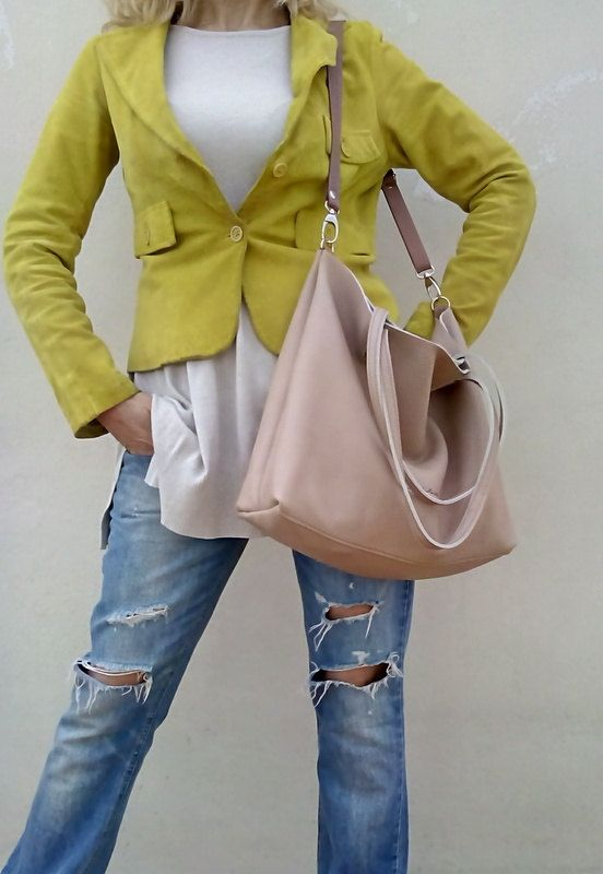Free shipping/Beige Nude leather bag/Tote by LaraKlass on Easy, £117.57