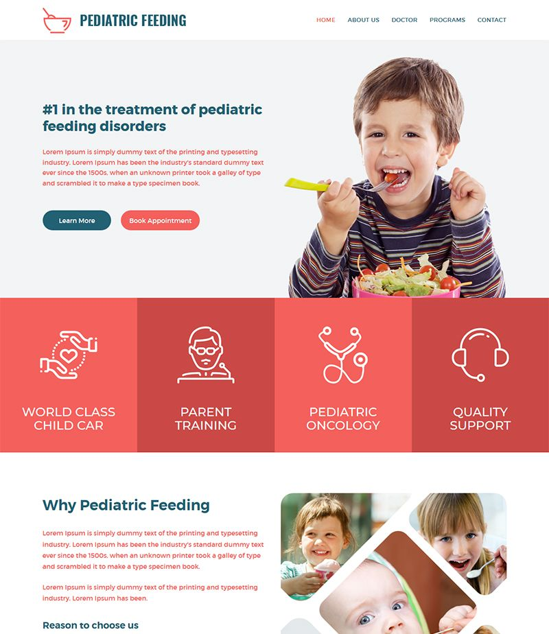 Pediatric Feeding - Child Health Clinic HTML Template Pediatrician