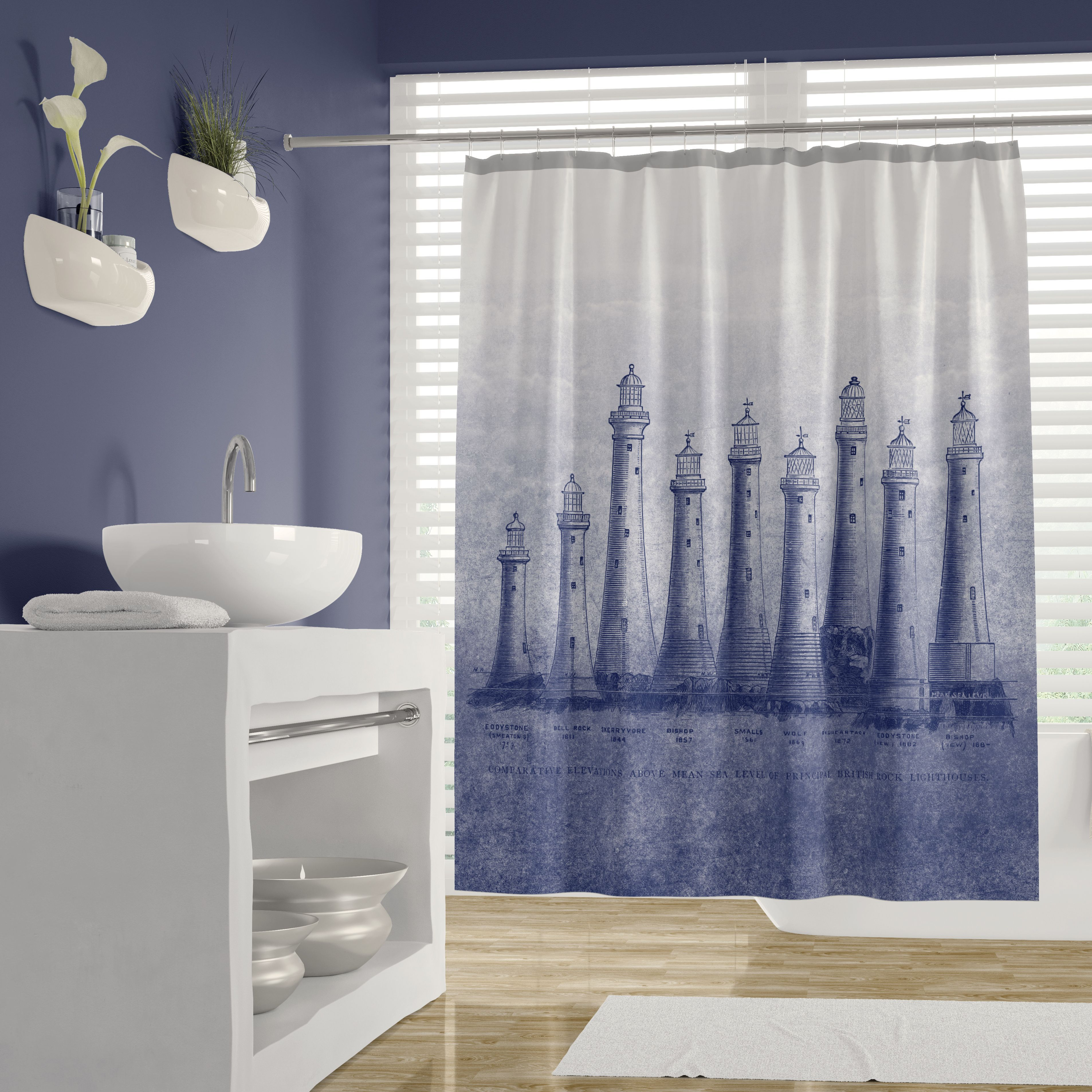 British Lighthouses In Blue Shower Curtain Blue Shower Curtains
