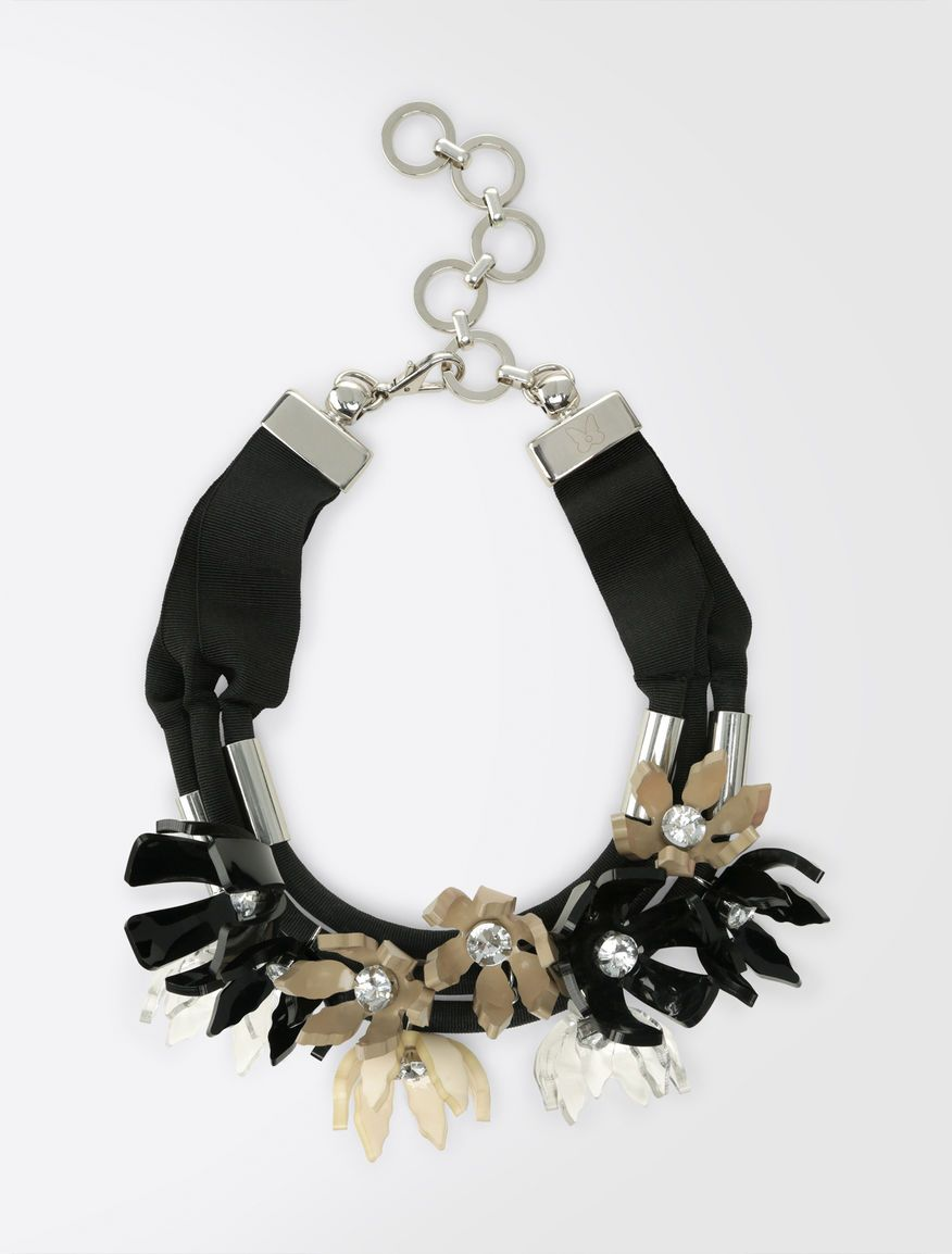 30f7c88f9c2 Weekend Max Mara ARSENIO black  Choker necklace with 3-D flowers Product  page