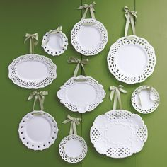 Hanging Plates With Ribbon Google Search Plates On Wall Hanging Plates Plate Wall Decor