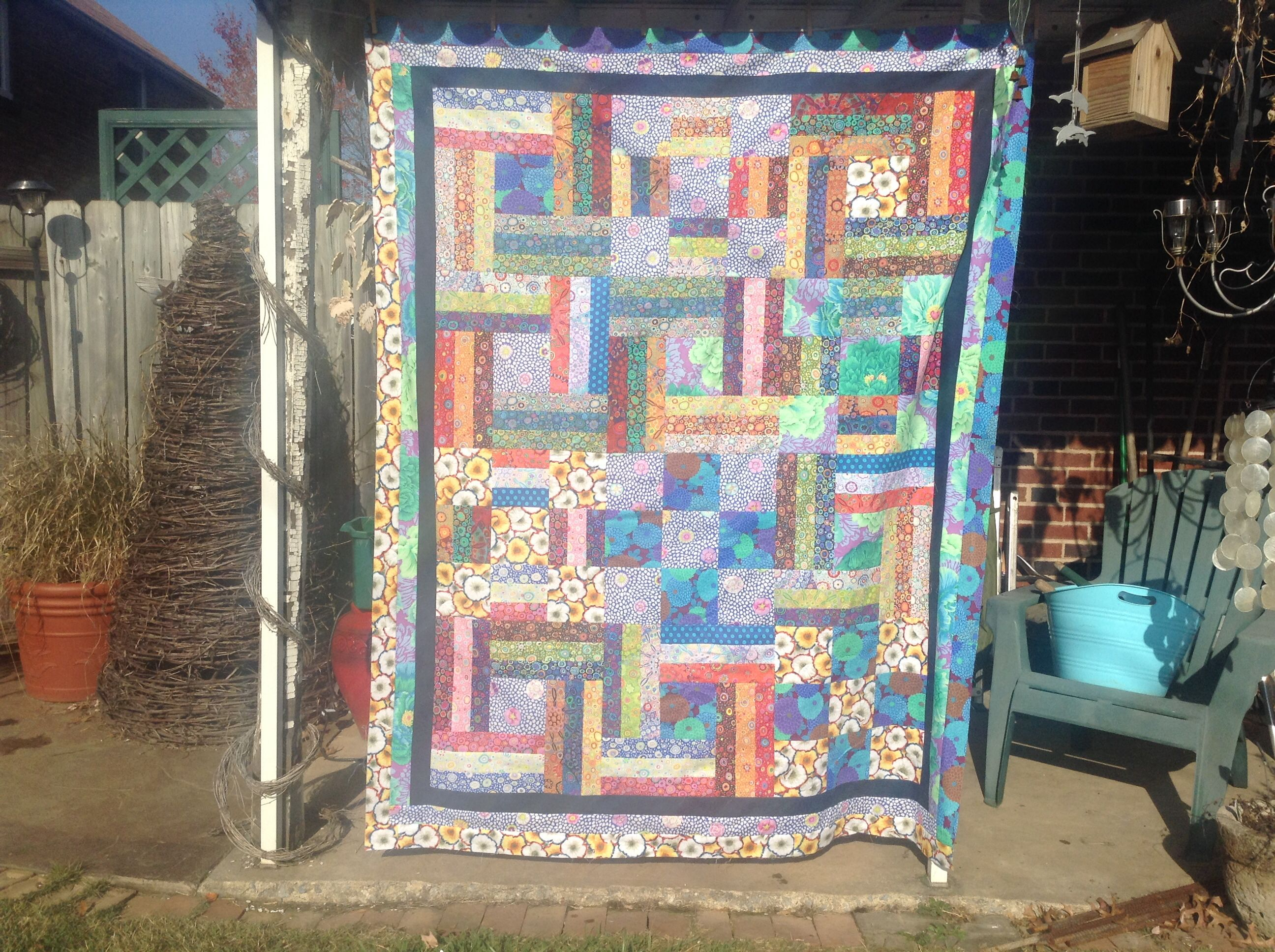 Quilt Guild Demo Ideas : Using a jelly rolls and fabrics from a Kaffe Fassett demo, Piecemakers Quilt Guild meeting ...