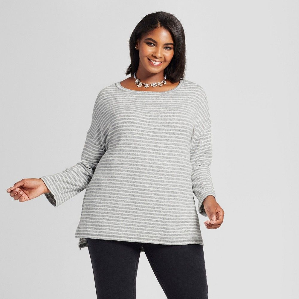 Womens Plus Size Striped Pullover Ava Viv Gray Products