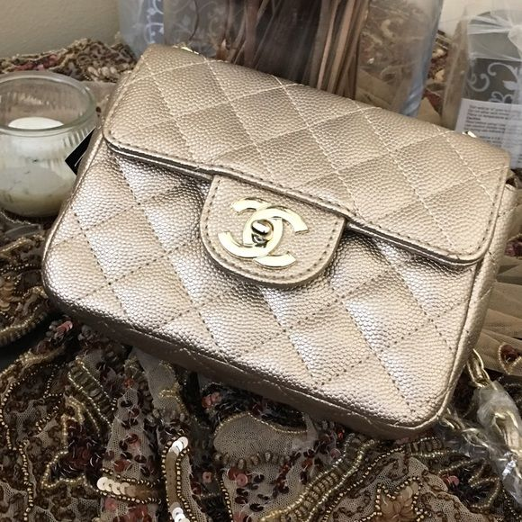 Crossbody bag Cute C leather bag with long strap , elegant and trendy .available in two colors , black and gold CHANEL Bags Crossbody Bags
