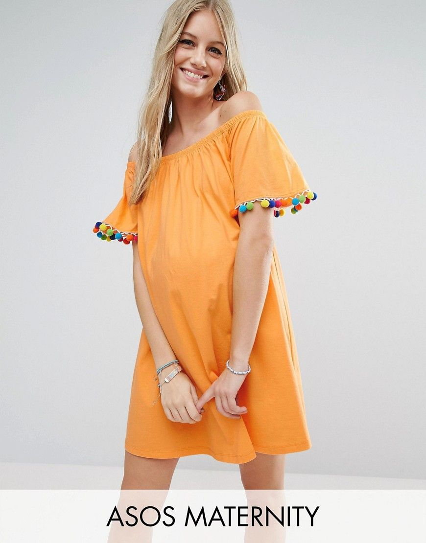 Buy it now asos maternity off shoulder pom pom sundress orange asos maternity off shoulder pom pom sundress orange maternity dress ombrellifo Images