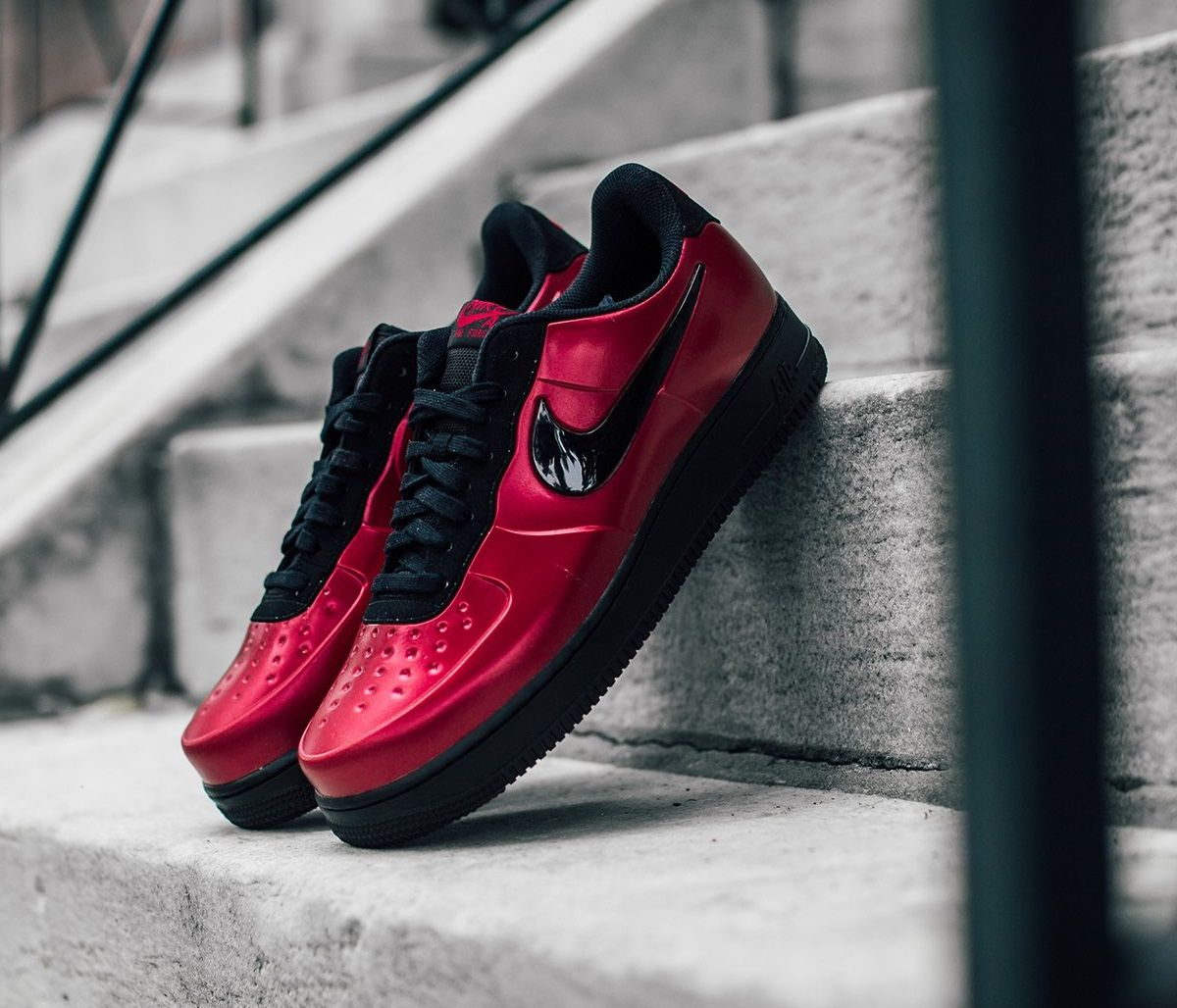 new product 85aeb 5ca6c NIKE AIR FORCE 1 FOAMPOSITE PRO CUPSOLE GYM RED BLACK MEN
