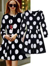 Polka Dot Long Sleeves Aline Mini Dress img