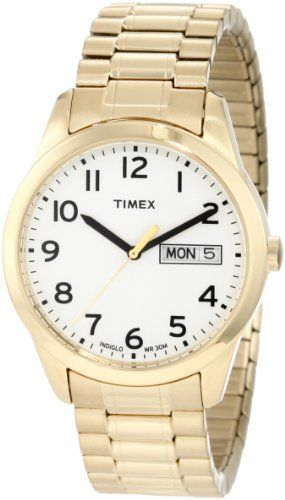 Timex Men's T2N064 Elevated Classics Dress Gold-Tone Expansion Band Watch Timex. $31.01. Day and date display. Indiglo® Night-Light. Stainless steel expansion band. Water-resistant to 99 feet (30 M). Gold tone bracelet