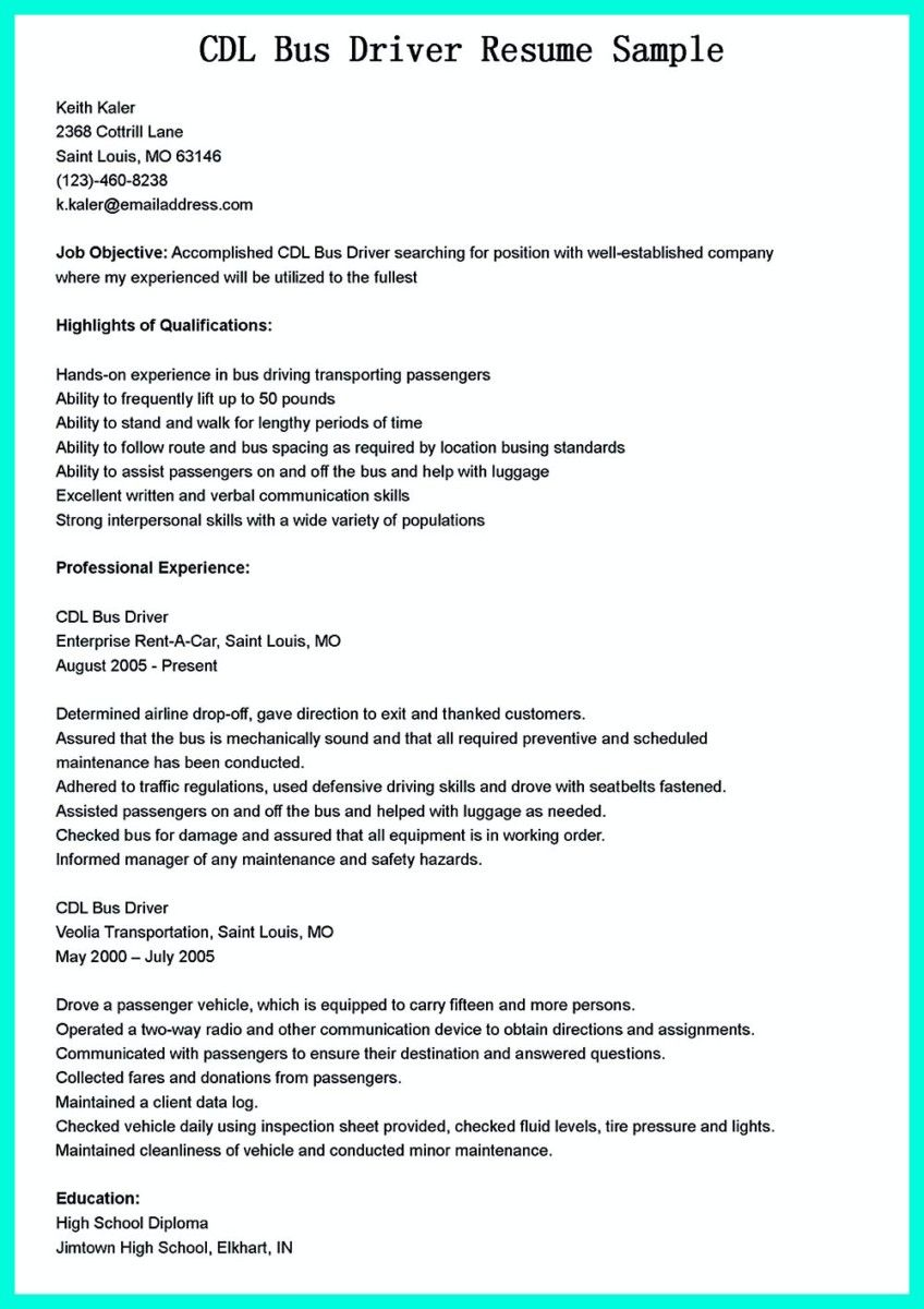 cdl bus driver resume sample will give ideas and provide as references your own resume there are so many kinds inside the web of resume example for cdl bus - Bus Driver Resume Template