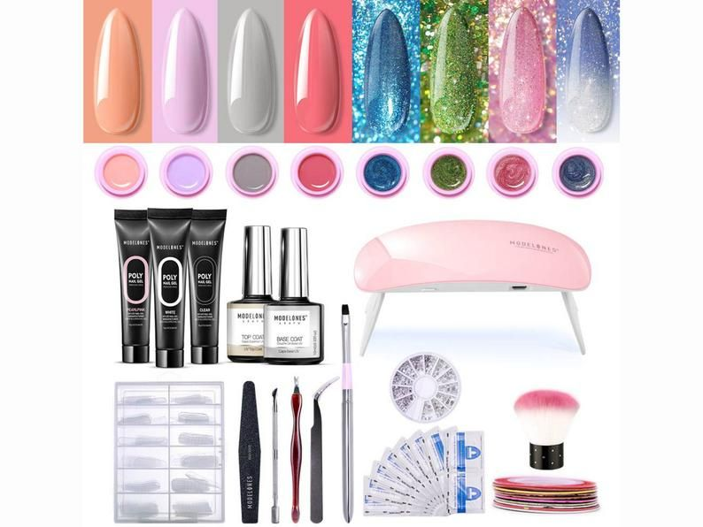 Polygel Kit Glitter Gel Starter Kit Uv Light Led Changing Etsy Glitter Gel Nail Art Rhinestones Glue On Nails