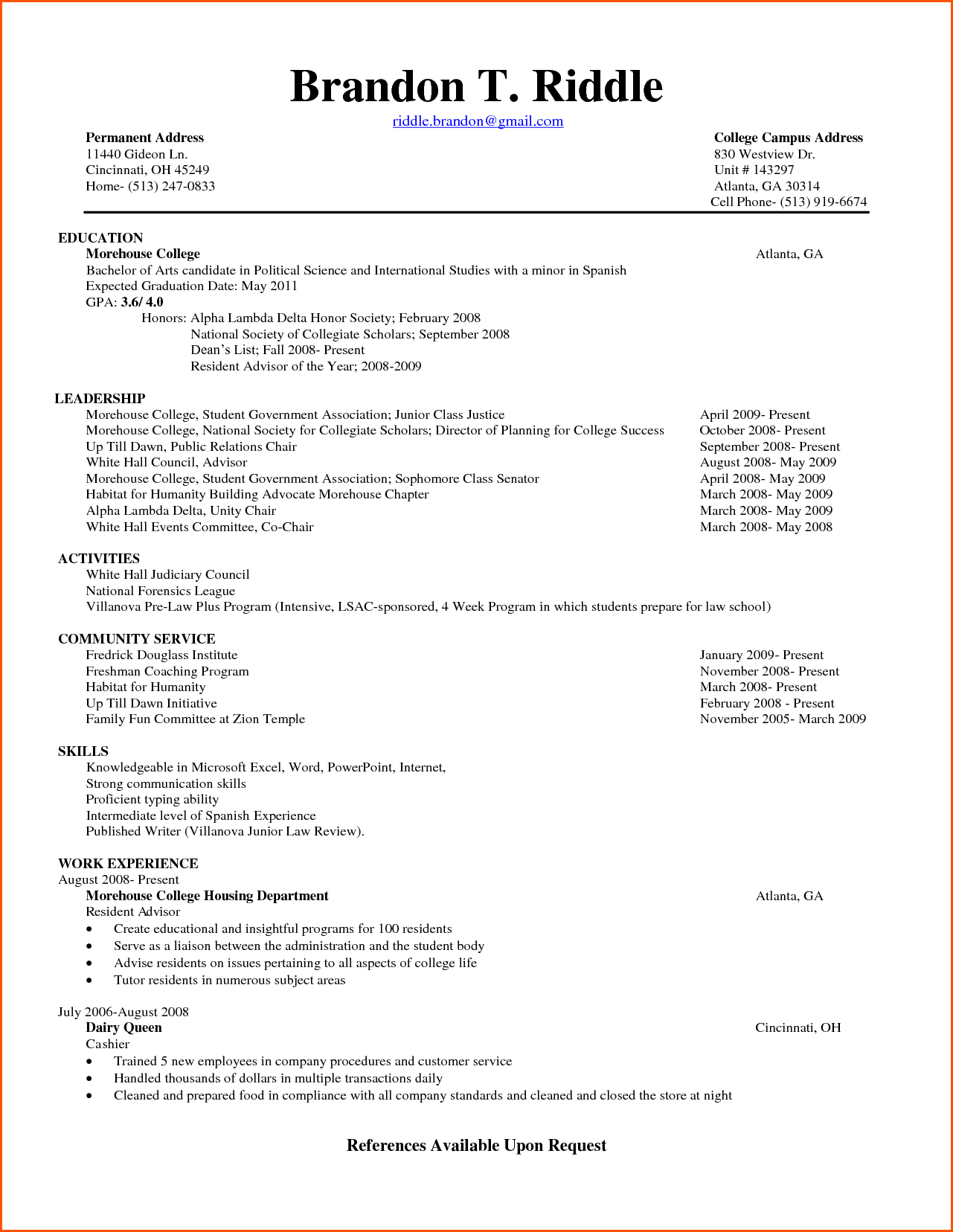 Freshman College Student Resume Examples Sample Chronological