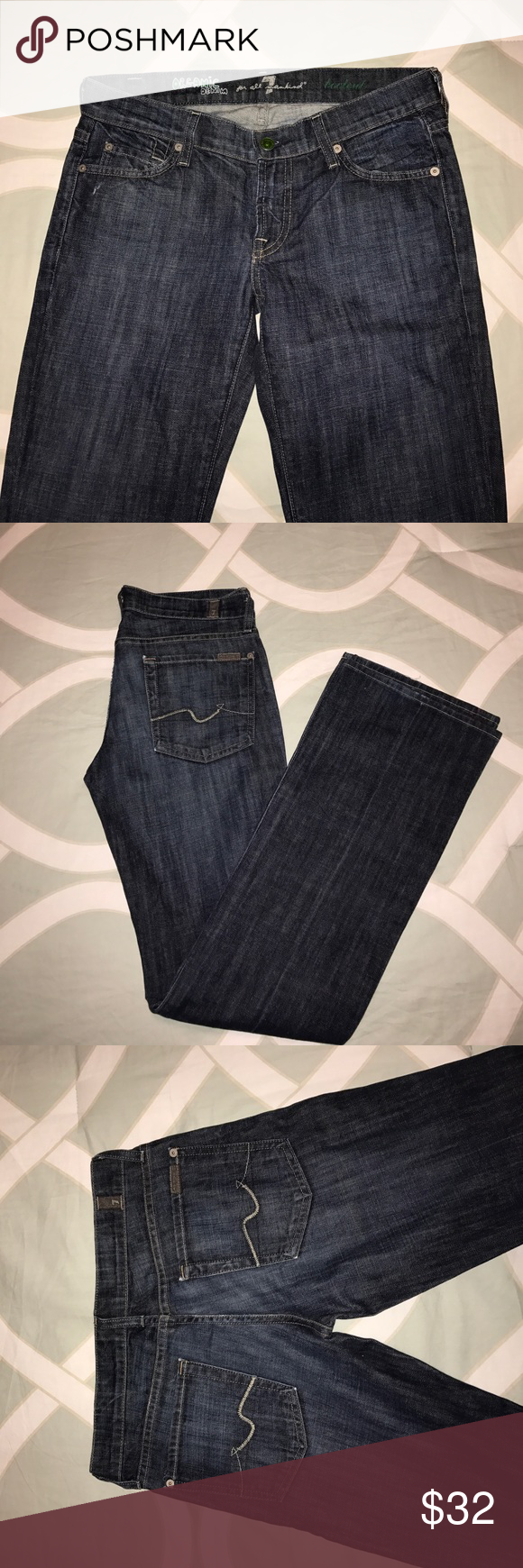 """7 For All Mankind Organic Bootcut Jeans Size 27 7 For All Mankind Organic Denim Bootcut Jeans. Size 27.  Style # UO75394S-394S. 32"""" from crotch to hem.  Great condition. Looove these jeans!! 7 For All Mankind Jeans Boot Cut"""
