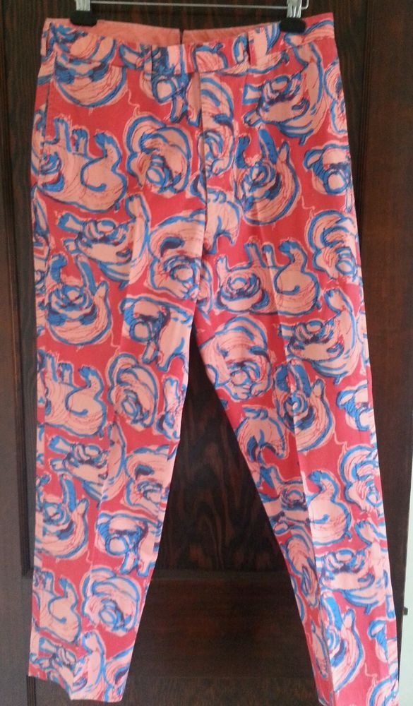 493905cc2292f Vintage Lilly Pulitzer Palm Beach pink and blue pants BULLDOGS 36 x 31 for  men