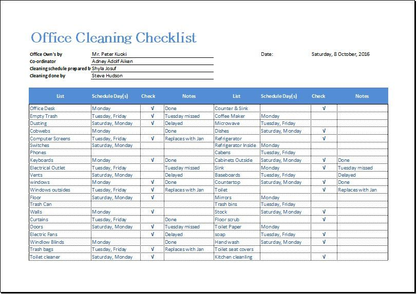 Office Cleaning Checklist Download At HttpWwwBizworksheetsCom