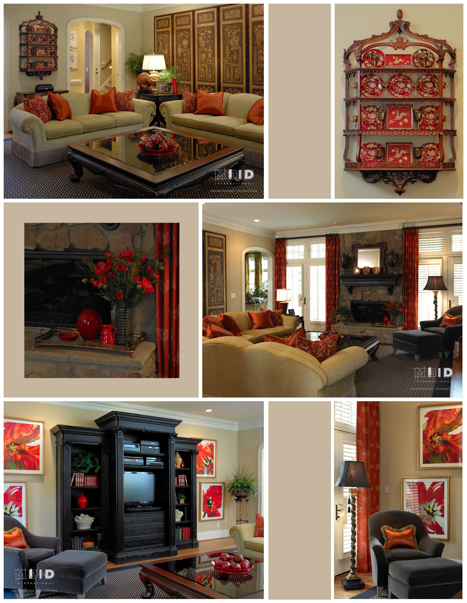 Red and Gold Asian Fusion Living Room | Interior design ...