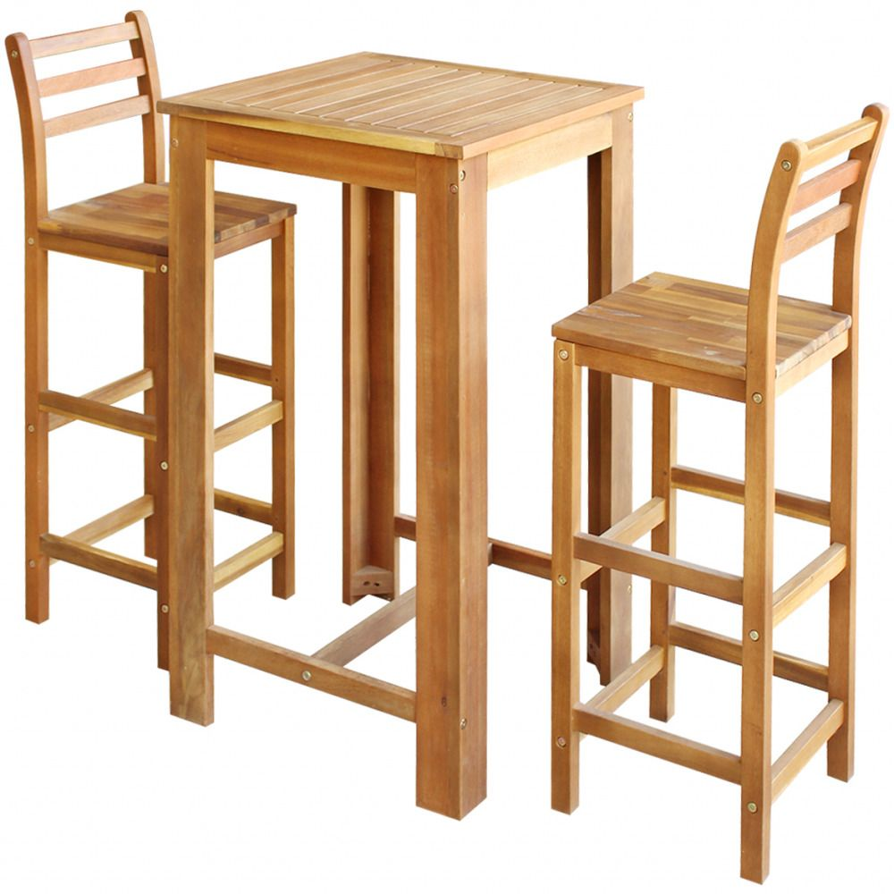 Astonishing Wooden Dining Set Table Chairs 3 Piece Solid Acacia Wood Andrewgaddart Wooden Chair Designs For Living Room Andrewgaddartcom