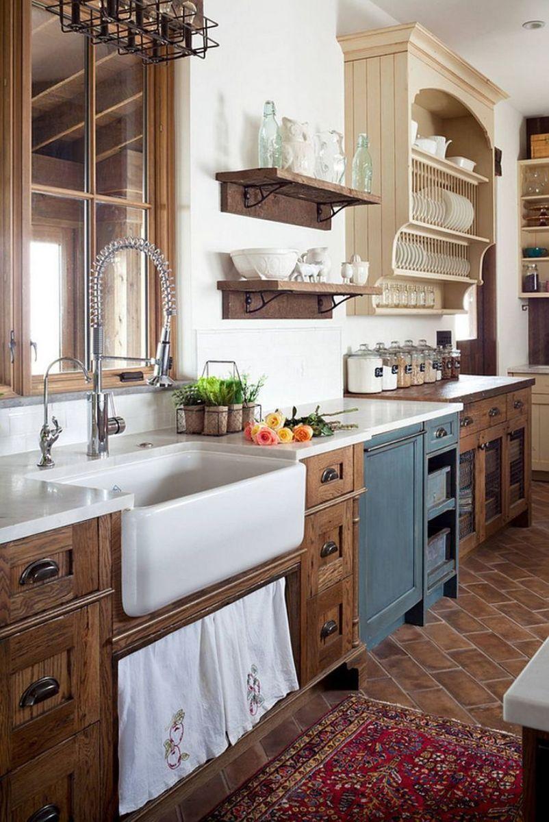 Amazing rustic farmhouse style kitchen decorating ideas 12