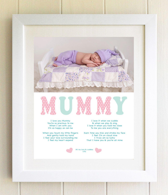 Mummy Poem Poetry Photo Gift on canvas Baby Print Mum Birthday ...