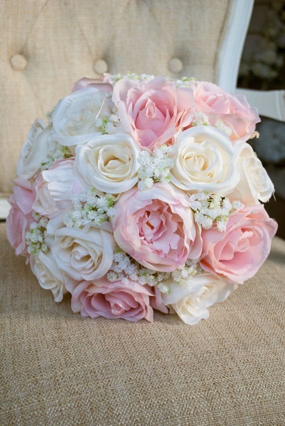 Romantic ivory and blush pink silk wedding bouquet. Made with