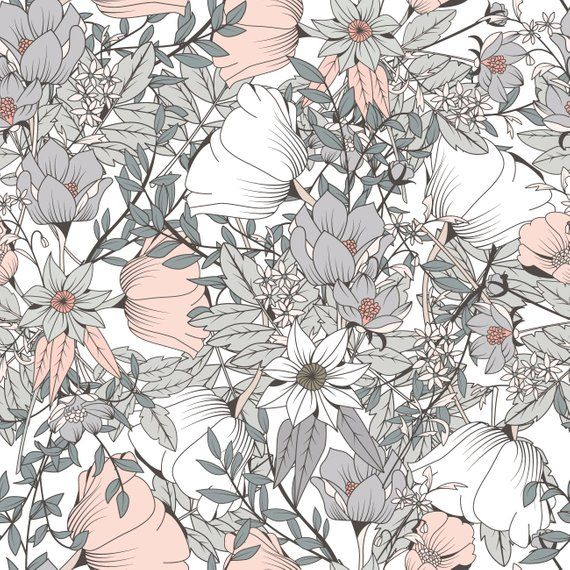 Grey flowers * Removable Wallpaper Mural * Floral Peel & Stick or Pre-Pasted Wallpaper * Self Adhesive * Easy to Apply #flowerpatterndesign