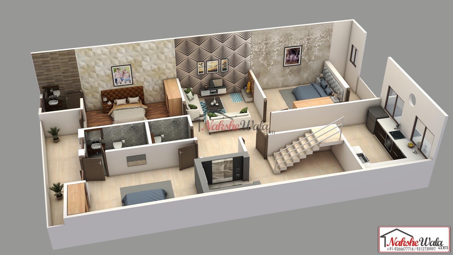 2bhk 3d Floor Plan House Plans Model House Plan Floor Plan Design