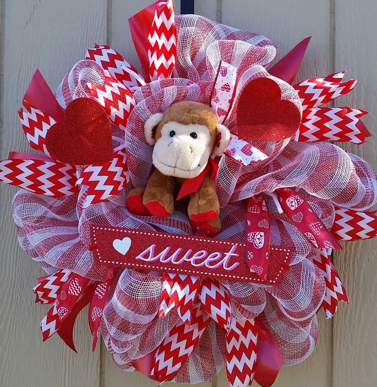 Happy Valentineu0027s Day Sweet Monkey Wreath Home Office Decor Hearts Chevron  Sweet Wreath 24 In Wreath