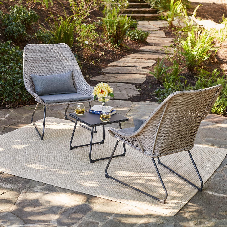Hanover 3 Piece Wicker Chat Set Steel Blue Patio Furniture