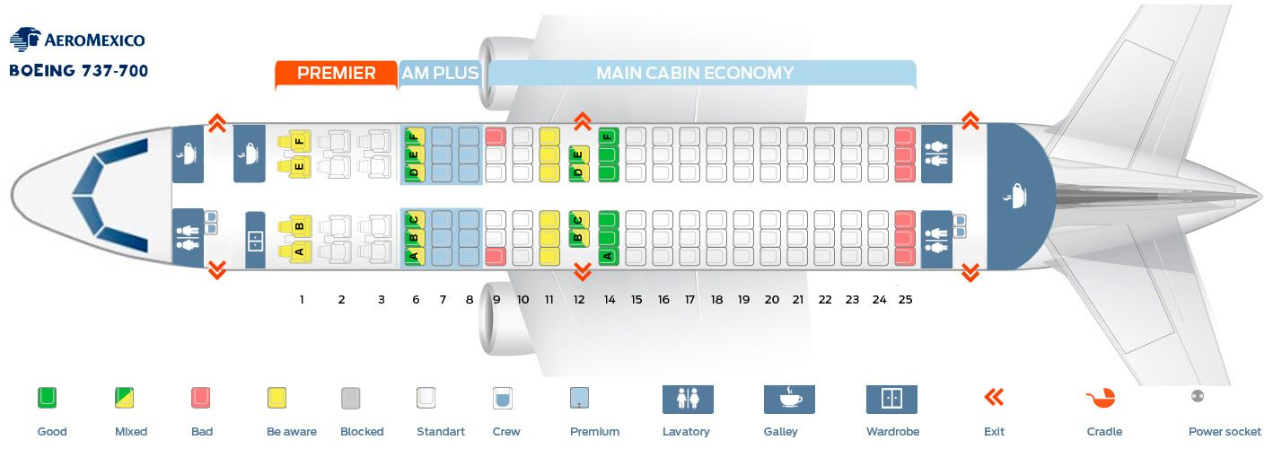 Seat Map And Seating Chart Aeromexico Boeing 737 700 Boeing Delta Airlines Boeing 737