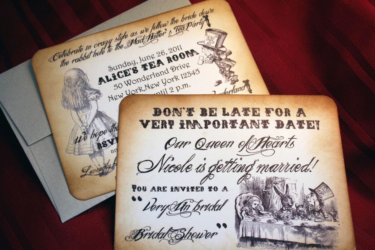 alice in wonderland invitations for wedding by anistadesigns - Alice In Wonderland Wedding Invitations