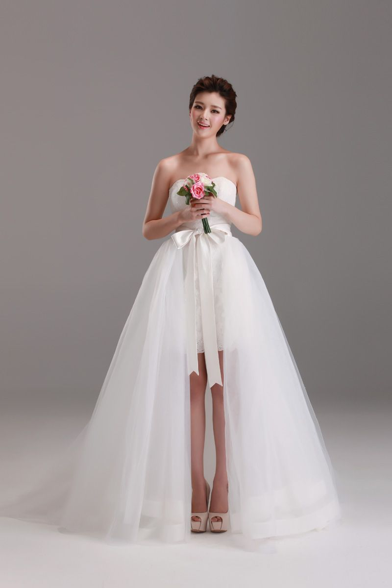 With 2 wearing sleeveless short lace wedding dress with detachable tulle skirt,Style No.0bg02467,US$279.00