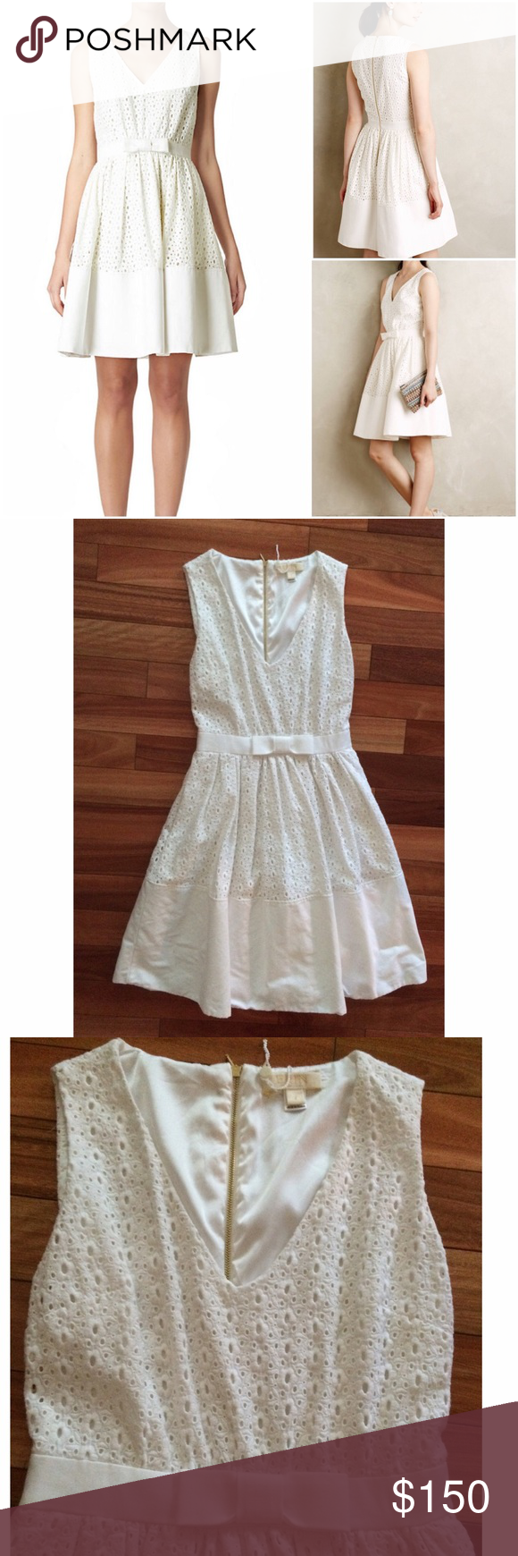 """NWOT Erin Fetherston White Rila Eyelet Dress Brand new without tag. I removed tag to just try It and didn't work for me. Perfect for a bridal party or just to wear. A sweet springtime staple, this eyelet sundress features a flattering belted waist with a darling bow at the center-front.  V-neckline Sleeveless silhouette Banded waist with bow at center-front Soft pleating along waist A-line skirt Solid banded hem Back-zip closure Size 4 measures approx. 37.75"""" length, waist is 13"""", 16"""" pit to…"""