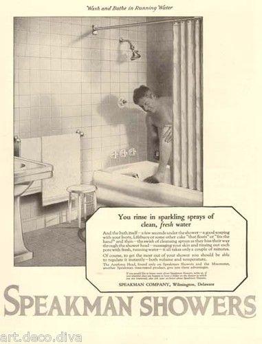 vintage ad speakman shower bathroom bath nude man tub bathtub fixtures