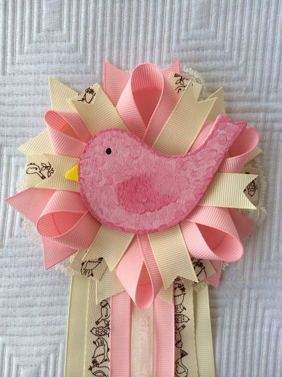Bird Birdie Vintage Pink Ivory Girl Baby Shower Corsage Pin On