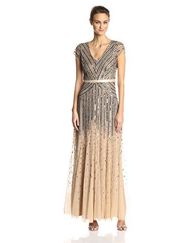 a624d0ee237f New Adrianna Papell Adrianna Papell Women's Long Beaded V-Neck Dress With  Cap Sleeves and Waistband. womens dresses [$119.98 - 300.00] from top store  ...