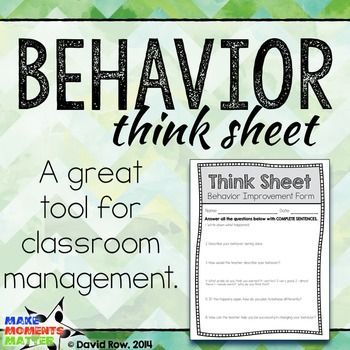 The think sheet provides a prompt for the student to fill out, a guided response, and paperwork to document what happened. This is a great tool as it helps the student work through what they need to do to change their behavior and identify what they did to warrant removal from the classroom.