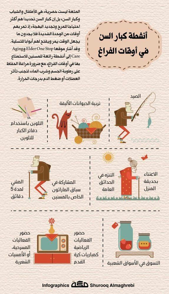 أنشطة كبار السن في وقت الفراغ Life Infographic Books